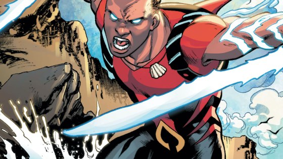 Aqualad fights off a surprise attack from the Electrocutioner!