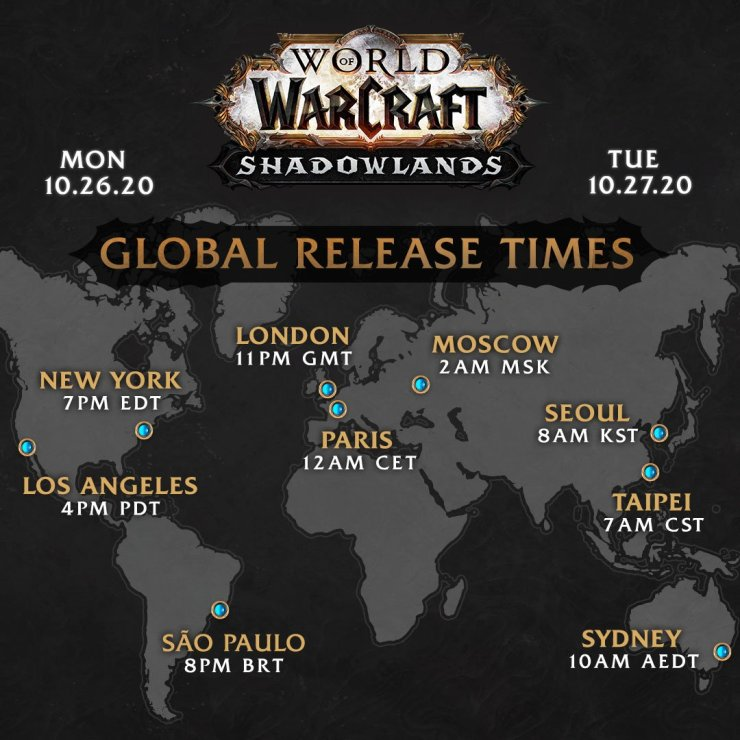 World of Warcraft Shadowlands release times