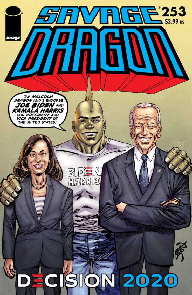 Savage Dragon #253 cover - Biden/Harris 2020