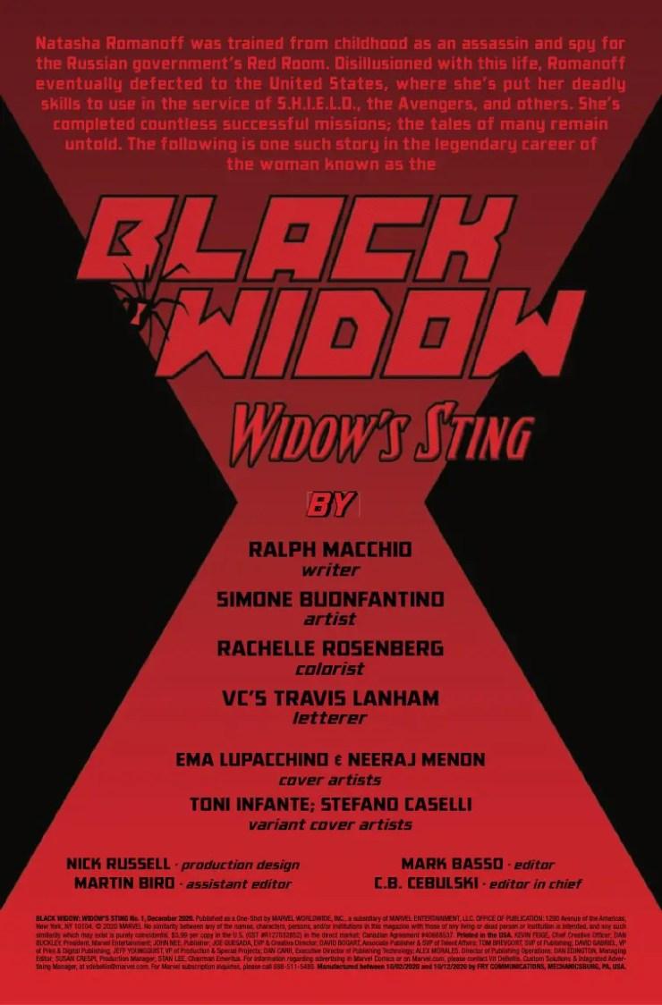 Marvel Preview: Black Widow: Widow's Sting #1