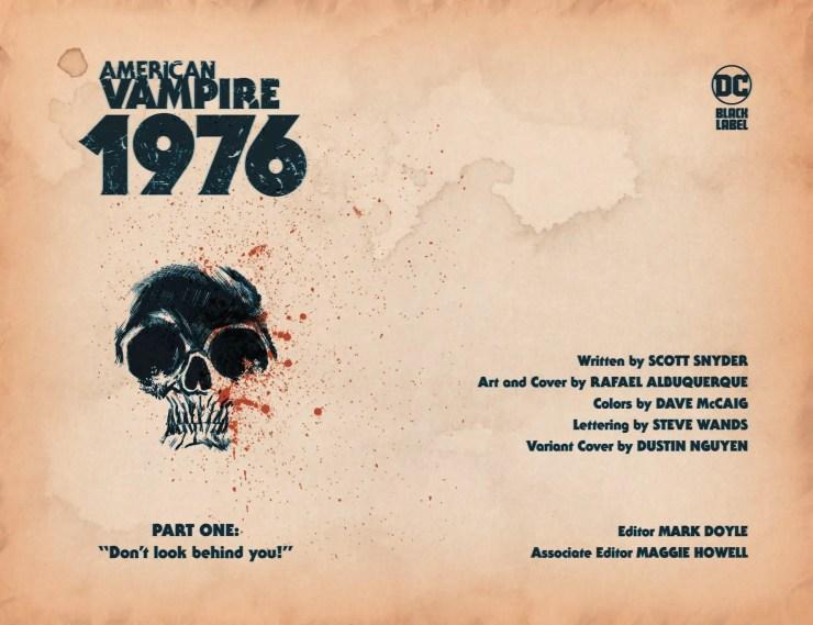 DC Preview: American Vampire 1976 #1