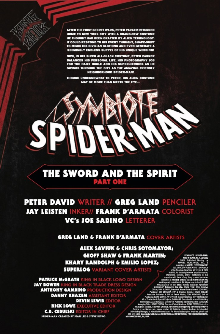 Symbiote Spider-Man King in Black #1