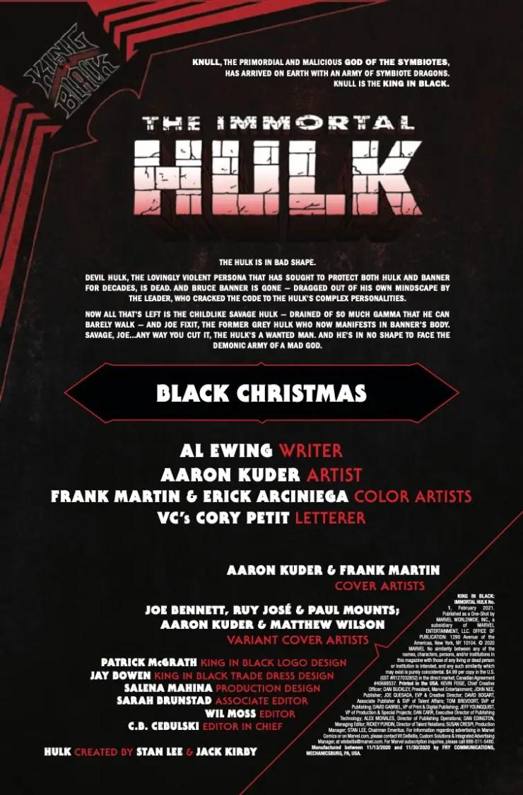 Marvel Preview: King In Black: Immortal Hulk #1