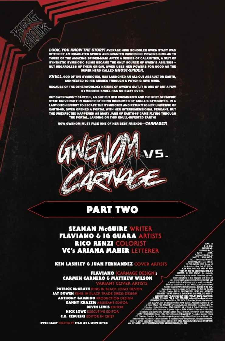 Marvel Preview: King In Black: Gwenom vs. Carnage #2