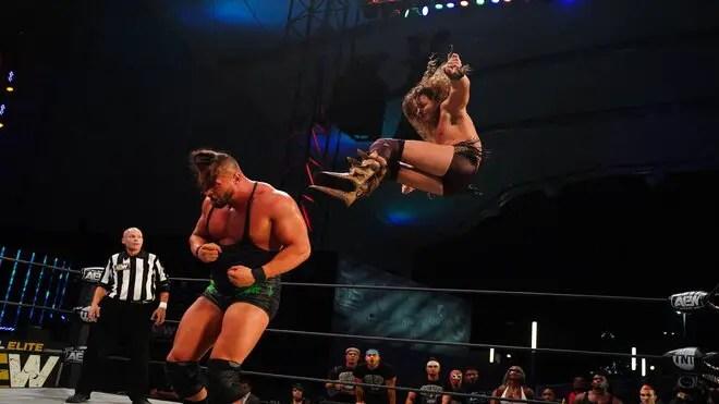 Jungle Boy delivers a dropkick to Wardlow on AEW Dynamite