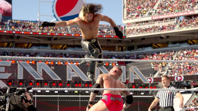 Randy Orton delivers an RKO to Seth Rollins at WrestleMania 31
