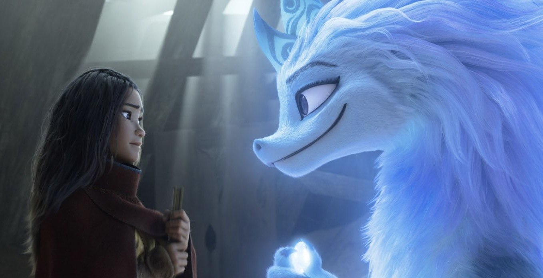 Raya and the Last Dragon featuring Kelly Marie Tran as Raya and Awkwafina as Sisu