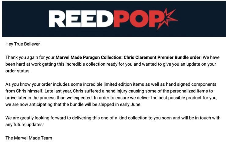 Reedpop issues delay of Chris Claremont Premiere X-Men Bundle