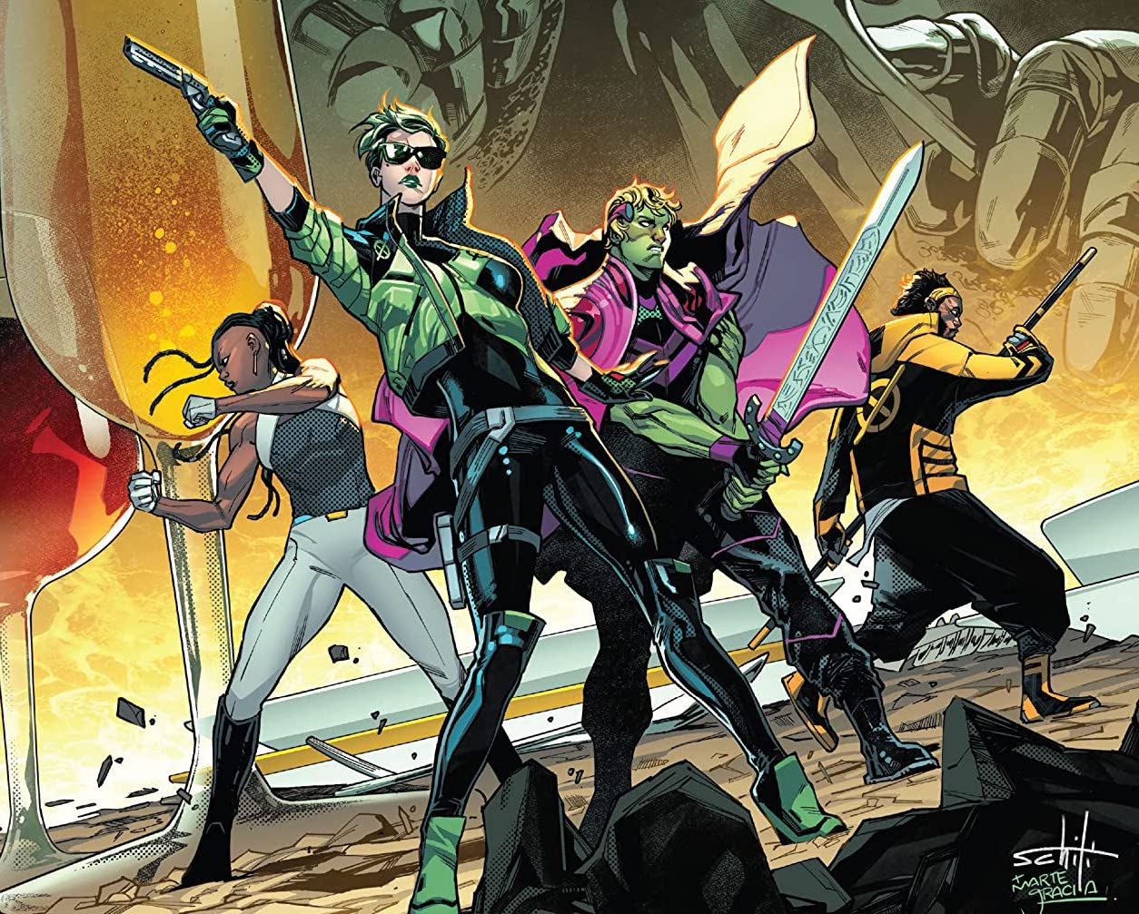 The team of Sword, Frenzy, Manifold, and Abigail brand, standing alongside Hulkling, the kind of space.