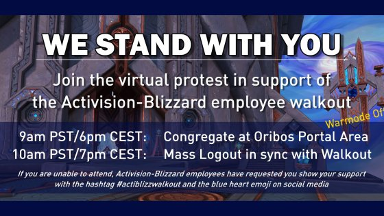 World of Warcraft players are staging a virtual walkout in support of Blizzard employees
