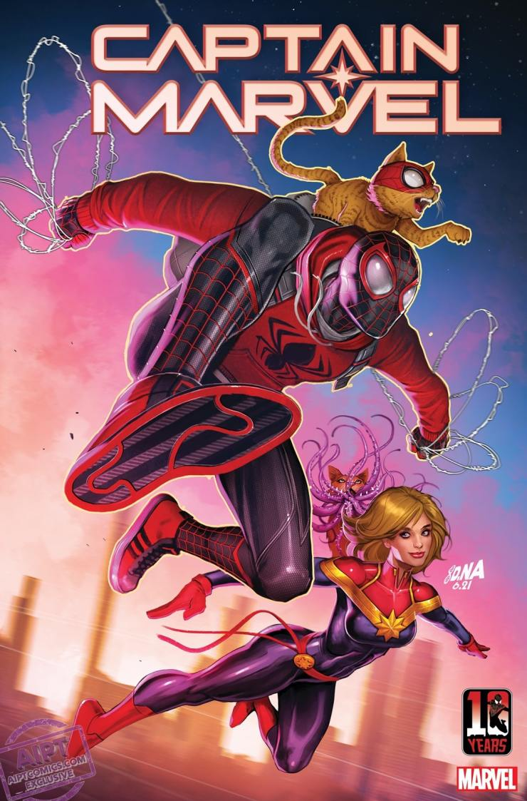 Miles Morales 10th Anniversary covers Captain Marvel #32