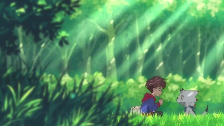 Digimon Ghost Game screenshot - Hiro and Gammamon picnic