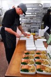 Executive Chef Dwayne Lortie and his team worked tireless 16-hour shifts, preparing sumptuous dishes like the Pan-Roasted Salmon with Italian Noodles and Baby Vegetables