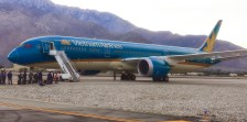 The Vietnam Airlines Boeing 787 Dreamliner on the tarmac at Palm Springs International Airport.