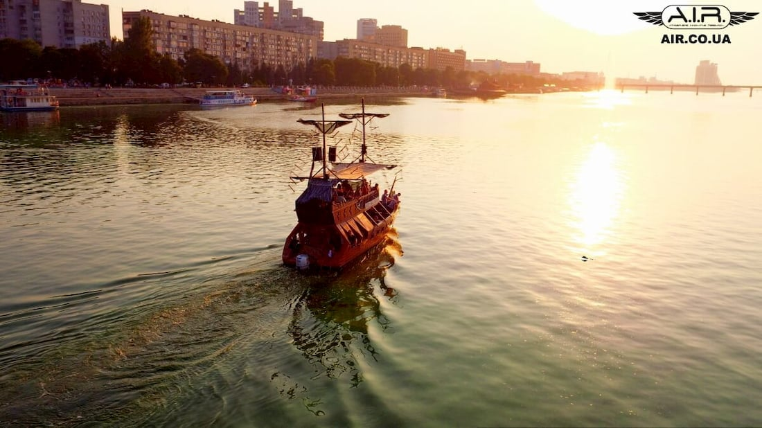 A ship is going down the river photo with quadcopter