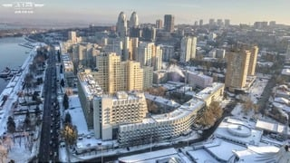 Winter look of central promenade taken with drone in Dnipro city