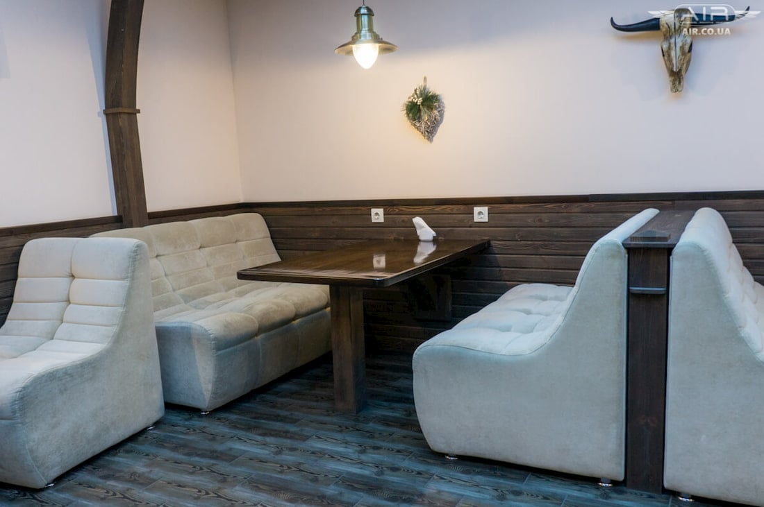 Picture of sofas taken in café in Dnipro city