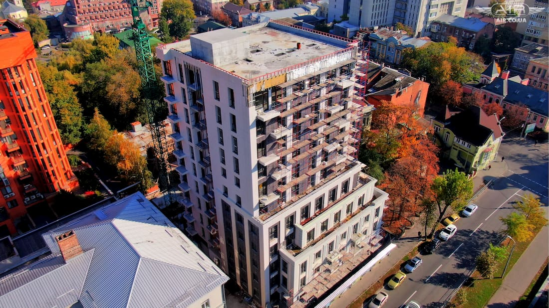 Building for sale aerial photo with drone