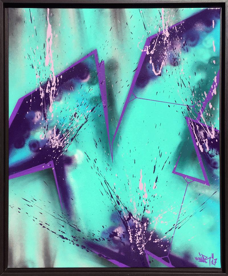 Toile peinture avec graffiti bleu et violet | Air1duc