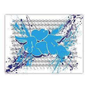 Sérigraphie sur papier blanc avec graffiti imprimé bleu | Air1duc