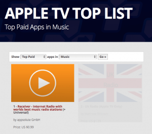 Receiver App is most used Apple TV Music App | airable