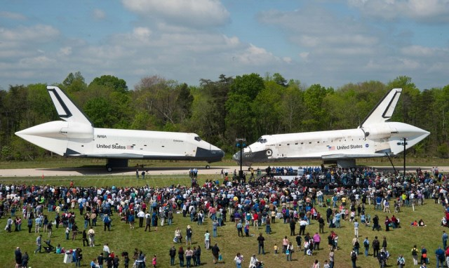 Space Shuttles Enterprise and Discovery Meet Nose-to-Nose