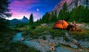 Man at a campsite