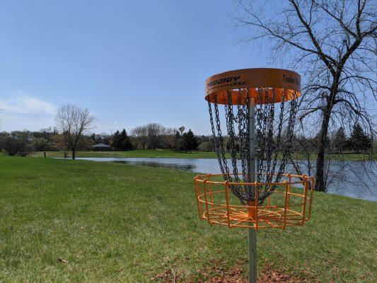 disc golf basket orange