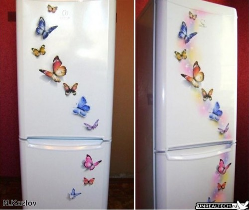 airbrushed butterfly on refrigerator
