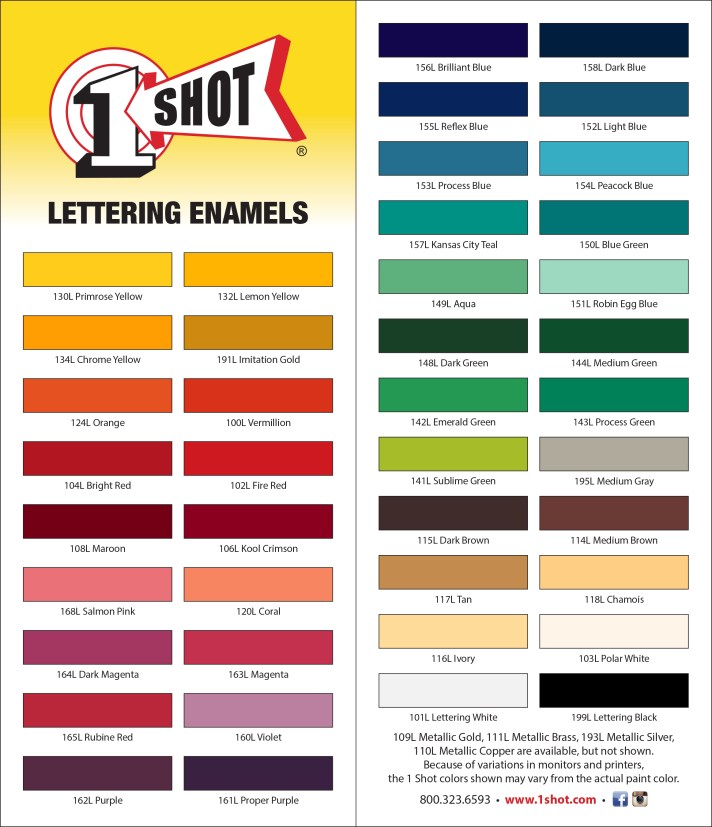 one shot paint colors gallery