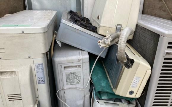 安佐北区の解体民家で、エアコン回収と不用品回収