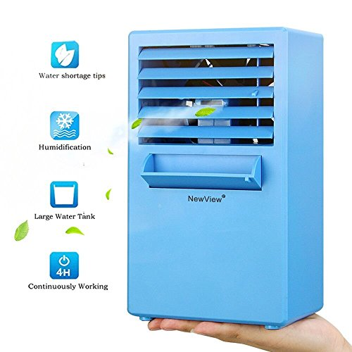 NEW VIEW Personal Misting Fan 9.5 Inch Portable Air Conditioner Fan Small  Table Fan Desktop