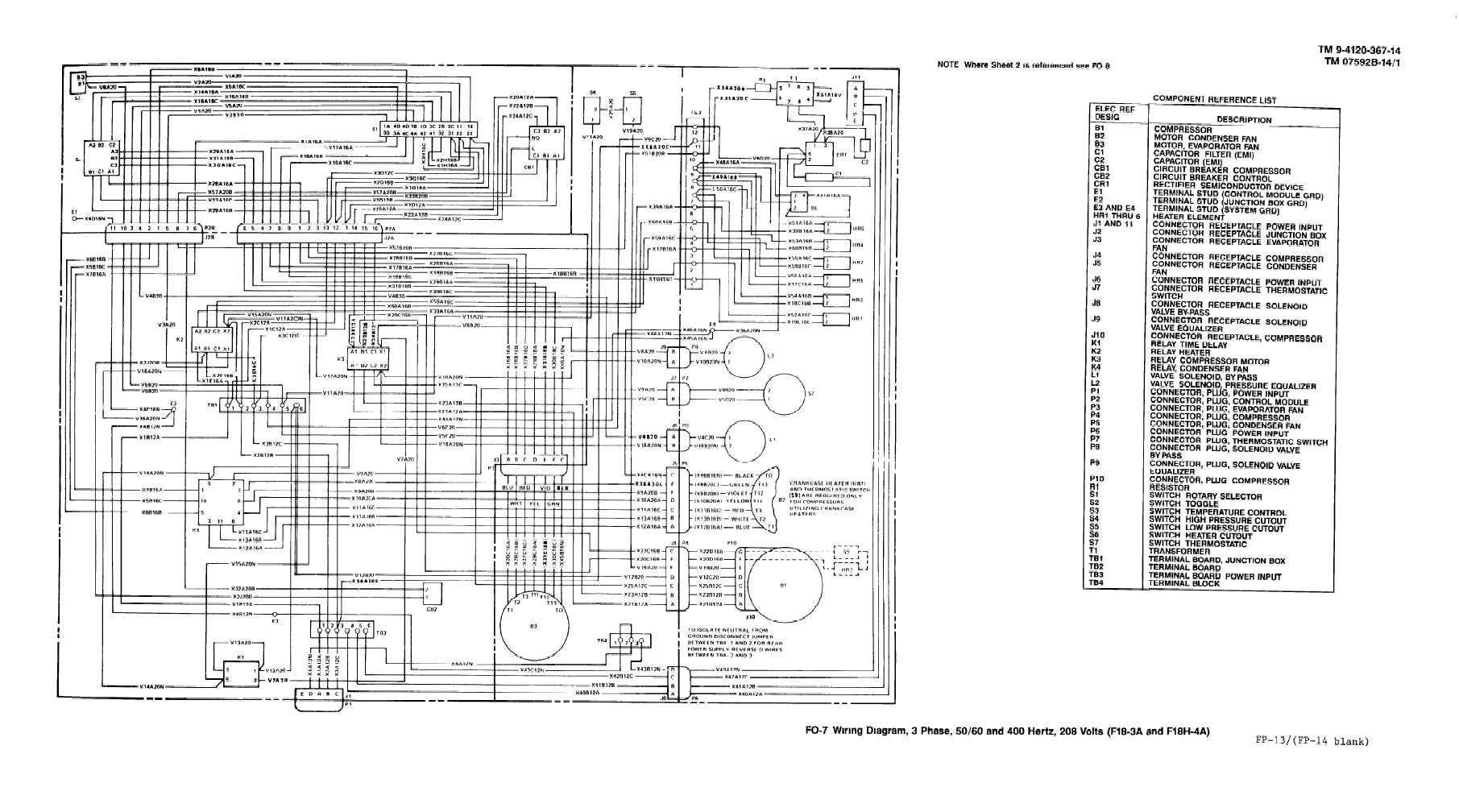Fo 7 Wiring Diagram 3 Phase 400 Hertz 208 Volts Model