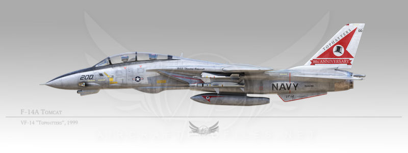 """F-14A Tomcat, VF-14 """"Tophatters"""", 1999"""