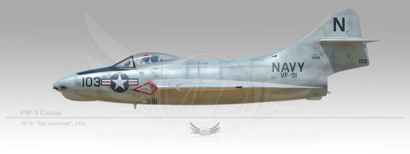 "F9F-8 Cougar, VF-91 ""Red Lightnings"", 1956"
