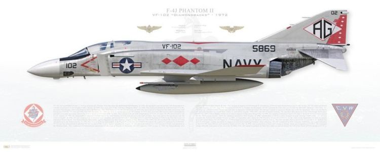 "F-4J Phantom, VF-102 ""Diamondbacks"" profile prints from Aircraftprofileprints.com"