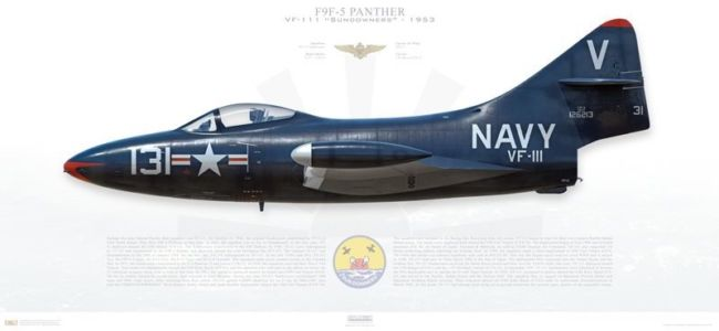 "F9F-5 Panther, VF-111 ""Sundowners"" profile print by Aircraftprofileprints.com"
