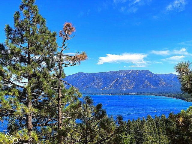 Lake Tahoe with mountains in the background
