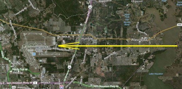 20141003.. KIAH west flow satellite view (east to Lake Houston)