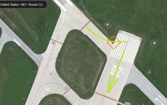 20150404scp.. KCOU mishap, RWY20 area SATview marked-up