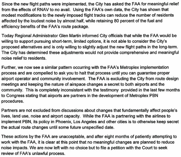 20150601..Phoenix.Mgr.E.Zuercher letter to FAA.M.Huerta, announcing NextGen Lawsuit (portion of pg2)
