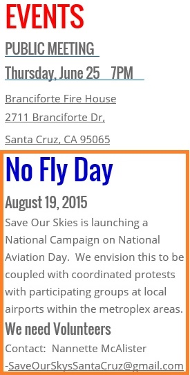 20150610scp.. SOSSantaCruz.org clip showing next meeting and 'NoFlyDay 8-19'