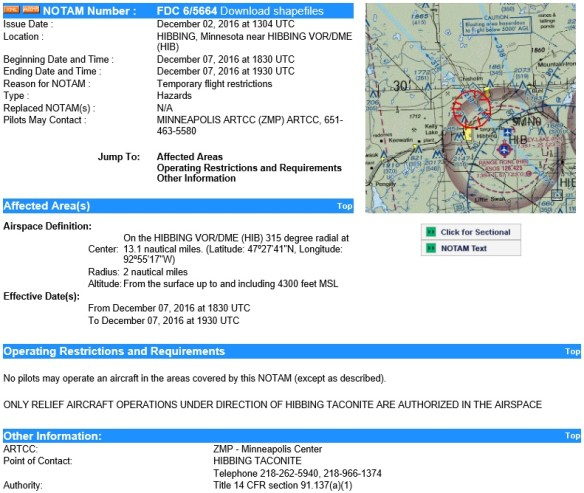 20161205scp-mine-blasting-tfr-fdc-notam-6-5664-hibbing-taconite-mine-in-mn-for-20161207
