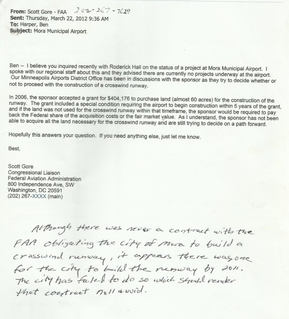 KJMR.20120322.. FAA.S.Gore email to B.Harper, update on XWND RWY situation (5yr obligation to build, but delayed by land purchase)
