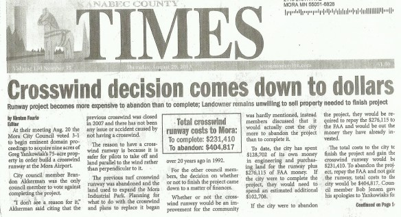 KJMR.20130829.. 'Crosswind Decision Comes Down to Dollars' pg.1 (K.Faurie, KanabecCountyTimes, top of front page)