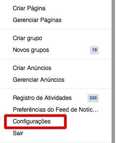 Configurações de Conta Facebook
