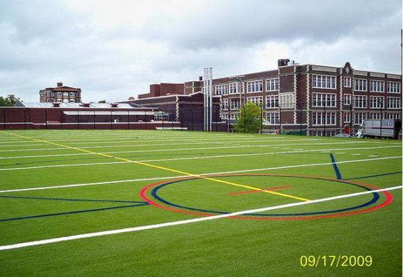 Artificial grass, synthetic grass, fake grass, green roof, airdrain, roof top drainage, rooftop sports field