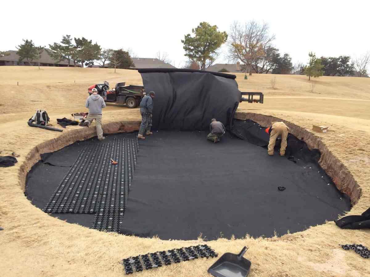 golf bunker, sand trap, bunker drainage