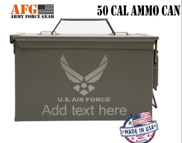 Air Force Custom Engraved Ammo Can and Embroidered Rucksack Image