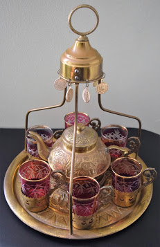 Antique Turkish Brass Tea Set for Six(6) Image